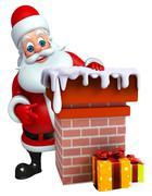 Santa claus with chimney - stock illustration