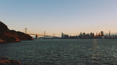 Bay Bridge and the San Francisco city view - stock footage