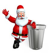 Cartoon Santa claus with dust bin Stock Illustration