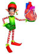 Elves with anatomical heart Stock Illustration