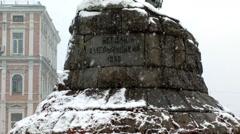 Historic monument to Hetman Bogdan Khmelnitsky. Stock Footage