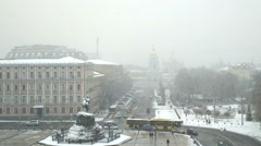 Sofia square in winter. Stock Footage