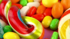 Stock Video Footage of Sweet Candy Jelly Bonbon Lollipop Mixed of Snack Sugar Food