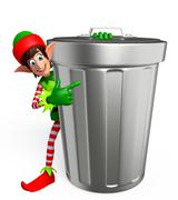 Cartoon Elves with dust bin Stock Illustration