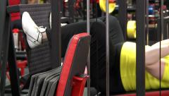 Full girl is engaged in fitness club. Stock Footage