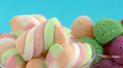 Sweet Candy Jelly Bonbon Lollipop Mixed of Snack Sugar Food - stock footage