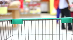shopping wagon cart moving through store - stock footage