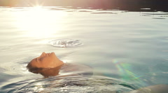 Leisure Luxury Pool Spa. Sensual Woman Relaxing at Sunset. Stock Footage