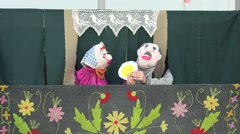 Theatrical creative performance with hand made puppet dolls. 4K Stock Footage