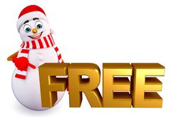Snowman with free sign Stock Illustration