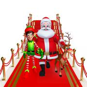 Cartoon Santa claus opn red carpet - stock illustration