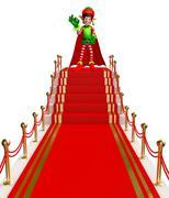 Cartoon Elves on red carpet - stock illustration