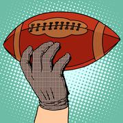 The ball of American football in his hand - stock illustration