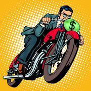 Businessman on a motorcycle. Financial success - stock illustration