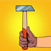 Hand with hammer - stock illustration