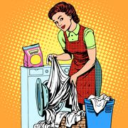 Woman washes clothes washing machine Stock Illustration