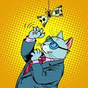 Business cat and money - stock illustration