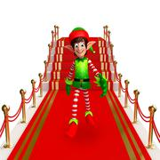 Stock Illustration of Cartoon Elves with red carpet