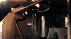 Making coffee in a bar in early morning. Stock Footage