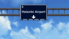 4K Passing Helsinki Finland Highway Airport Sign with Matte 2 stylized Stock Footage