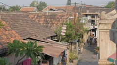 Red tiled rooftops in kraton,Yogyakarta,Java,Indonesia Stock Footage