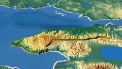 Yalova - Turkey region extruded. Bumps shaded Stock Footage