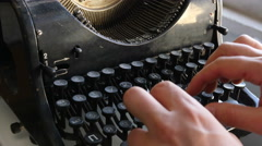 Man printing text with the broken cyrillic typewriter - stock footage