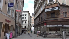 4k Salzburg city building playing cards storefront Stock Footage