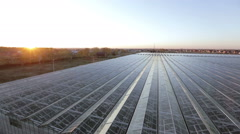 Top view of the huge glass roof of the greenhouse Stock Footage