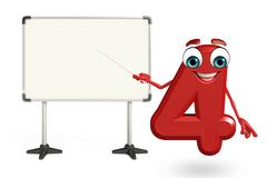 Cartoon character of four digit with display board Stock Illustration