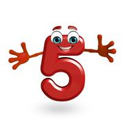 Stock Illustration of cartoon character of five digit
