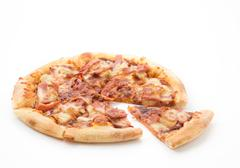 Hawaiian pizza isolated on white background Stock Photos