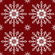 Christmas snowflakes on red background seamless background patte - stock illustration