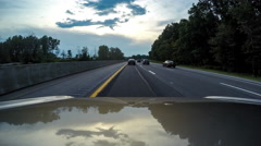 Time Lapse on three lane Highway moving through heavy traffic Stock Footage