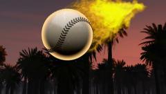 Slow motion burning baseball ball Stock Footage