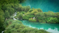 Lakes with waterfall in Croatia, Europe. Location: Plitvice, National Park. Stock Footage