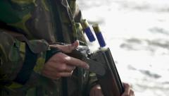 Shotgun Shells leaving barrel in slow motion full HD 1080p| Hunting | gun powder Stock Footage