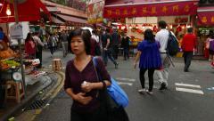 POV camera walk through Bowrington market area, Wan Chai road Stock Footage