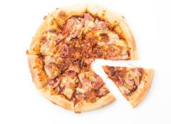 hawaiian pizza isolated on white background - stock photo