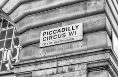 Piccadilly Circus street sign, London - stock photo