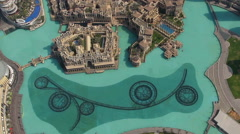 Aerial daylight shot of dubai fountain Stock Footage