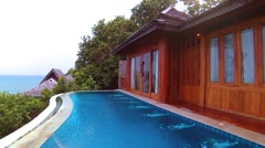 Luxerious ocean view pool villa Stock Footage