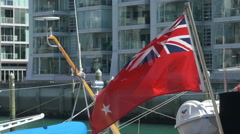 New Zealand Red Ensign flying on Yacht Stock Footage