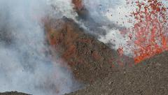 Stock Video Footage of Kamchatka: eruption active volcano - emission from crater: lava, gas, steam, ash