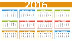 2016 colorful year calendar in English language - stock illustration