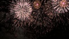 Magnificent fireworks with fascinating and thunderous end. Aerial at night Stock Footage