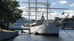 Youth hostel ship AF Chapman in Stockholm in Summer sunshine Stock Footage