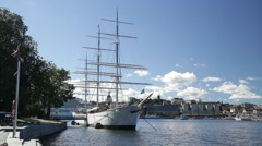 AF Chapman youth hostel wide shot - Stockholm in Summer sunshine Stock Footage