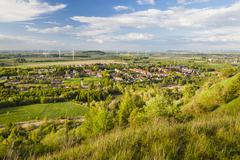 Flat west German landscape near Aachen and Herzogenrath with lots of wind tur - stock photo