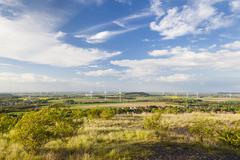View from a slag heap over flat west German landscape near Aachen with lots o Stock Photos